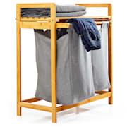 Поставка за дрехи, 2 подвижни чанти, бамбук, плътен памук