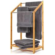 Закачалка за кърпи, 3 лоста за кърпи, 51х86х31см., стъпаловиден дизайн, бамбук