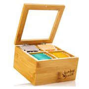 Cutie pentru ceai, 6 compartimente, 90 de săculeți de ceai, gemuleț transparent de plastic, bambus 4 compartimente