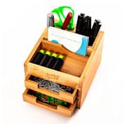 Schreibtischorganizer mit 2 Ausziehfächern 15 x 9,5 x 12,5 cm 100 % Bambus