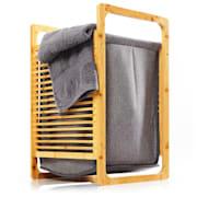 Кош за пране, бамбук, плътен памук, лесен за сглобяване