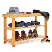 Regał na buty, regał wielofunkcyjny, 2 poziomy, 8 par butów, rozszerzalny, trwały, bambus