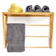 Стенен рафт за баня, 3 поставки за кърпи, място за съхранение в горната част, 42x30x20cm, бамбук