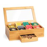 Škatla za čaj s posebnim predalom, 8 notranjih predelkov, 120 čajnih vrečk, plastično okence, bambus