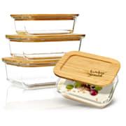 Set kvadratnih posod za shranjevanje živil, steklo, bambusov pokrov, 4 kosi, različnih velikosti