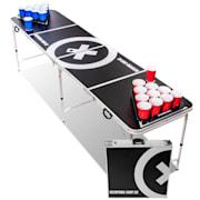 Baseliner Beer Pong Tisch Set Audio Tragegriffe Ballhalter 6 Bälle Spieltisch und Becher (rot/blau)