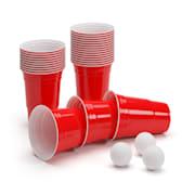 Andrews, červené poháre na pivo, 473 ml (16 oz), robustné, vrátane loptičiek a pravidiel