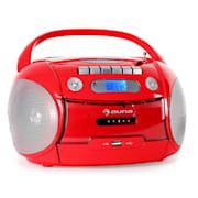 Boomheart tragbarer Kassettenplayer CD USB MP3 rot