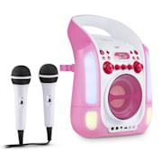 Kara Illumina, růžový, karaoke systém, CD, USB, MP3, LED světelná show, 2x mikrofon, přenosný