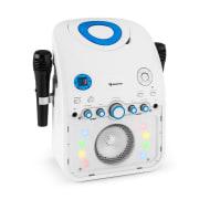 StarMaker, karaoke systém, CD, bluetooth, AUX, LED světelný efekt, 2 x mikrofon Bílá
