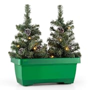Santaville Pine Tree Balcony Box Christmas LED Lights Green