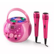 SingSing, přenosný karaoke systém, LED, provoz na baterie, 2 x mikrofon Růžová