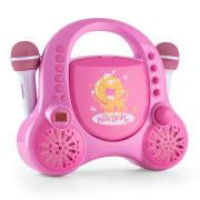 Rockpocket-A PK dětský karaoke systém CD AUX 2x mikrofon nabíjecí baterie růžová barva Růžová