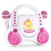 Rockpocket-A PK dětský karaoke systém CD AUX 2x mikrofon nabíjecí baterie bílá barva Bílá