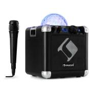 BC-10 karaoke systém LED párty osvětlení, bluetooth, dobíjecí baterie, USB, AUX-IN, černá barva