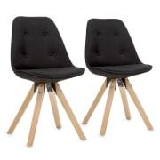 Iseo, stolička, 2-dielna sada, polstrovaná PP-konštrukcia sedacej časti, brezové drevo, čierna farba