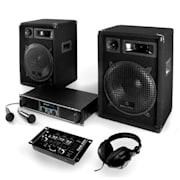 """DJ szett: """"Basstigall"""" - erősítő, hangfalak, mikrofon, 1200W"""