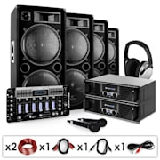 "Set sono PA ""Bass First Pro"" 2 amplis + 4 enceintes + mixer DJ + casque + micros"