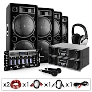 "DJ PA Set ""Bass First Pro"" 2x Amp 4x Boxen Mixer 4x 500W"