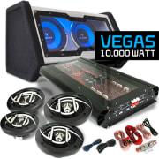 """Car Hifi set """"Vegas"""" 4.1 installatie 10.000W max. boxen bass versterker"""