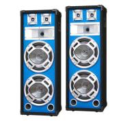 Soustava PA reproduktorů Skytec, 2 x 20 cm bass, modrý LED efekt, 600 W