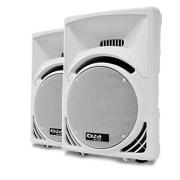 "Pair Ibiza 1400W 15"" Passive DJ PA Speakers - White ABS"