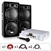 """DJ-21"" PA System Amplifier Speakers Cables Bundle 2000W"