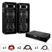 DJ PA szett DJ-24, PA erősítő, hangfalak, kábel, 1200 W