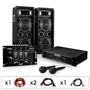 DJ - PA szett DJ–24M, erősítő, keverő, hangfalak, mik, 1200W