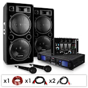"DJ SADA ""DJ-20.1"", PA zosilňovač, PA reproduktor, mixážny pult, mikro kábel, 2000 W"
