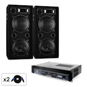 """DJ """"Beat"""" PA System with Amplifier, Speakers & Cables"""