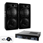 "Set DJ Malone 2.0 ""Bass"" amplificatore 2000W 2 x casse"