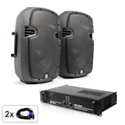 """PA Set """"SPJ Boom 10MKII"""" Pair of 25cm Speakers & Amplifier 800W"""