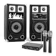 PA Караоке Комплект, 2 x PA-високоговорител, 2 x безжичен микрофон