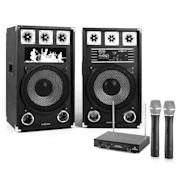 """Karaoke Set """"STAR-12A"""" PA reproduktory, bezdrátový mikrofón, 800W"""