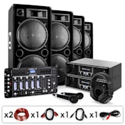 "Conjunto de PA DJ ""Bass First Pro Bluetooth"" 2x Amplificadores 4x Altifalantes Mixer 4000W"
