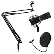 Studio Microphone Set with Microphone, Microphone Boom Arm & Pop Shield Black