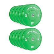 Nipton Bumper Plates, závaží k činkám, 5 párů, 10 kg, tvrdá guma, zelené 10x 10 kg