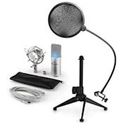 MIC-900S-LED V2, USB mikrofon set, srebrni, kondenzatorski mikrofon + pop-filter + stalak za stol