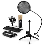 MIC-900BG-LED V2, USB mikrofon set, crno-zlatni, kondenzatorski mikrofon + pop-filter + stalak za stol