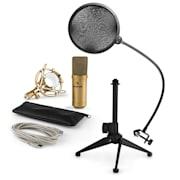 MIC-900G-LED V2, USB mikrofon set, zlatni, kondenzatorski mikrofon + pop-filter + stalak za stol