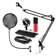 MIC-900RD, v4 USB mikrofon készlet, vörös, kondenzátoros mikrofon, POP szűrő, mikrofonkar
