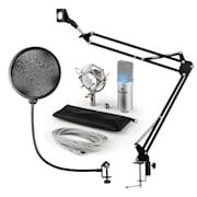 MIC-900S-LED, V4 USB mikrofon készlet, ezüst, kondenzátoros mikrofon, POP szűrő, mikrofonkar, LED