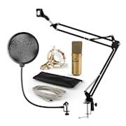 MIC-900G USB, mikrofon set V4, kondenzatorski mikrofon, pop filter, nosač za mikrofon, zlatna boja