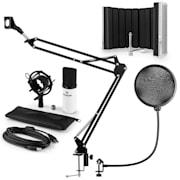 auna MIC-900WH USB mikrofon szett V5 kondenzátoros mikrofon, pop filter, mikrofonernyő, mikrofon kar, fehér