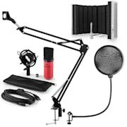 MIC-900RD, USB MIKROFONNÍ SADA V5, ČERVENÁ, kondenzátorové mikrofony, POP FILTER, AKUSTICKÁ CLONA, mikrofonní rameno