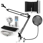 MIC-900S -LED, USB MIKROFONNÍ SADA V5, STŘÍBRNÁ, kondenzátorové mikrofony, POP FILTER, AKUSTICKÁ CLONA, mikrofonní rameno