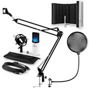 MIC-900WH-LED, V5, Beli mikrofonski set, Kondenzatorski mikrofon, Pop-filter, Resorpčna plošča, Rameno