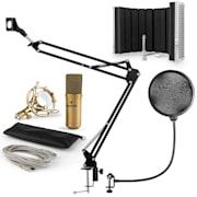 MIC-9005G V5, mikrofon készlet, kondenzátoros mikrofon, reszorpciós panel, kar, pop szűrő, arany