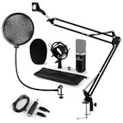 auna CM003 mikrofon szett V kondenzátoros mikrofon, USB-konverter, mikrofontartó kar, fekete